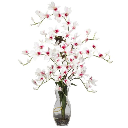 Nearly Natural 1190-WH Dendrobium with Vase Silk Flower Arrangement, White ()