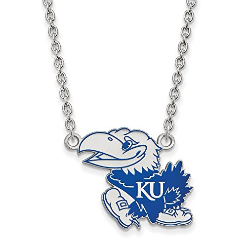 925 Sterling Silver Officially Licensed University College of Kansas Large Enamel Pendant with Necklace (18 in x 1.95 mm) (Genuine Necklace Mlb)