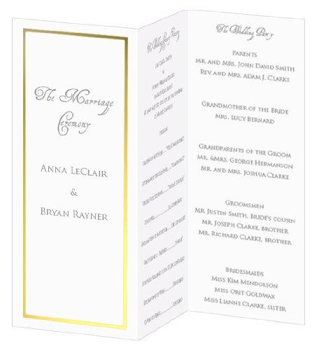 Gold Foil Invitation, Program, Trifold, Radiant White Cardstock, 65lb, 50 Pack