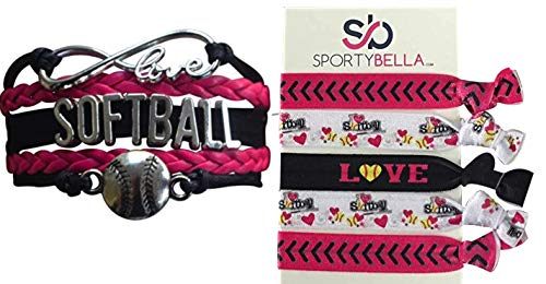 Softball Charm Bracelet & Hair Ties Gift Set - Infinity Love Adjustable Charm Bracelet with No Crease Hair Ties for Softball Players