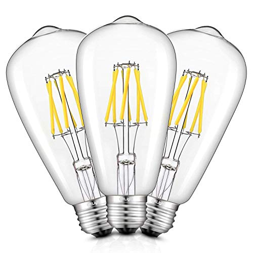 CRLight 6W 5000K LED Edison Bulb Daylight White 700LM Dimmable, 70W Incandescent Equivalent, Replace 12W Compact Fluorescent CFL Bulbs, E26 Base ST64 Antique Clear Glass LED Filament Bulbs, Pack of ()
