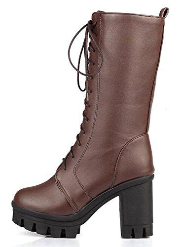 Easemax Women's Chic Lace Up Chunky Heel Platform Mid Calf Combat Boots - stylishcombatboots.com