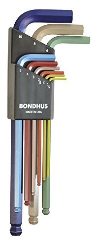 Bondhus 69499 Ball End L-Wrench Set with ColorGuard Finish, 9 Piece -