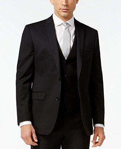 Bar III Slim Fit Blazer Black Solid 2 Button Wool New Men's Sport Coat (36 (Three Button Wool Blazer)