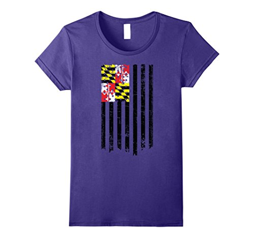 Womens Maryland American Flag T-Shirt Large (Baltimore Flag T-shirt)