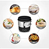 "Magic Chef MER-IR600W Electric Mini Induction Multi Cooker Hot Pot Portable Outdoor Camping Stainless Steel Electric Travel Cooker 110V 220V Dual Voltage White 6"" 2.64 Ib"