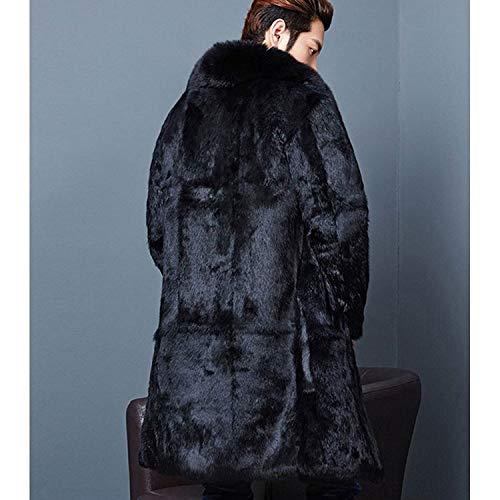 Giacca Neri Maschile Cappotto Con Inverno Finto Lungo Pelliccia Spessi Collare Di Bavero Sciolto Huixin Caldo Abbigliamento Manica Capelli Il wSUqIY