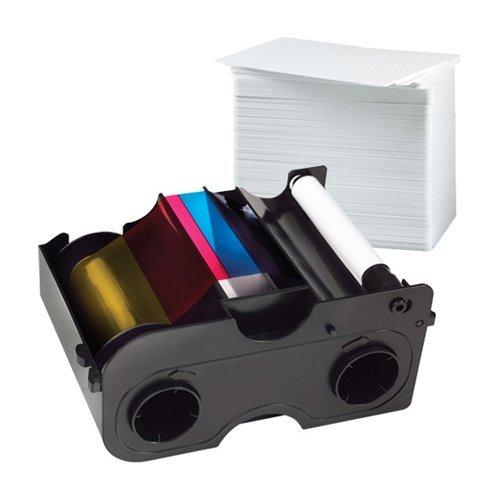 Fargo 45000 YMCKO Color Ribbon + PVC Card Bundle by Fargo