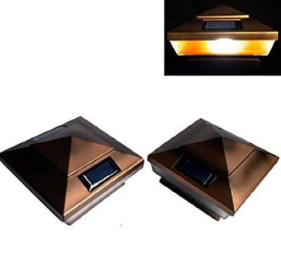 """6-pack Garden Solar Copper Post Deck Cap Square Fence Lights 4"""" X 4"""" with AMBER LED lights"""