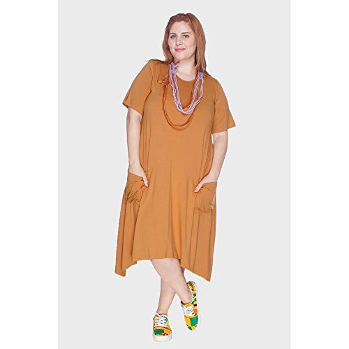 Vestido Evasê Com Bolsos Plus Size Caramelo-46/48