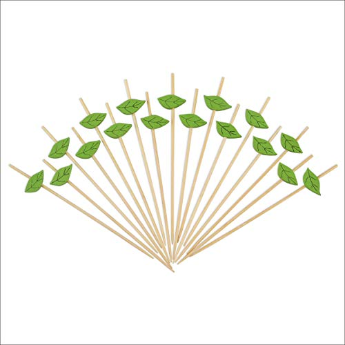 Green Leaf Fruit Kabob Skewers Cocktail Picks Long Bamboo Toothpicks for Appetizers Drinks Food Decorations Disposable Party Supplies Handmade 4.7