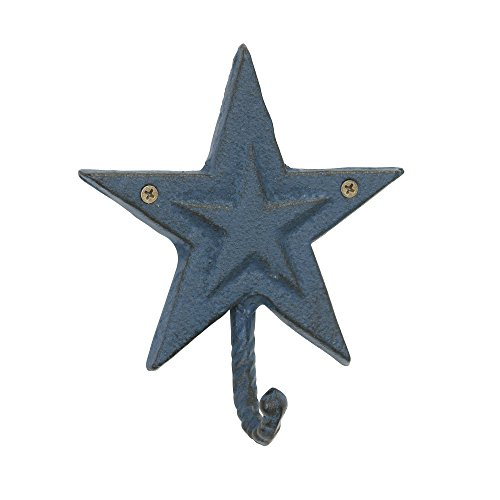 - Stonebriar Rustic Cast Iron Denim Blue Star Wall Hook, Country Western Home Decor, Decorative Wall Hook for Entryway, Bathroom, Kids Bedroom, or Patio, Indoor or Outdoor