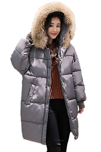 Fur Con Capa Cálido Espesar De Casual Mujer Parkas Invierno La Faux Suelto Capucha Externa Lined gris xFH1XzT