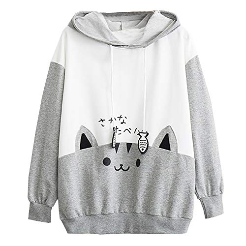 Londony ♥‿♥ Womens Japanese Sweatshirt Kawaii Style Kitty Cat Print Long Sleeve Thin Hoodie Tops with Pockets 2019