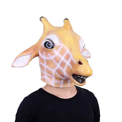 Lepy Giraffe Mask Full Face Novelty Halloween Costume Latex Animal mask Adult Size Orange -