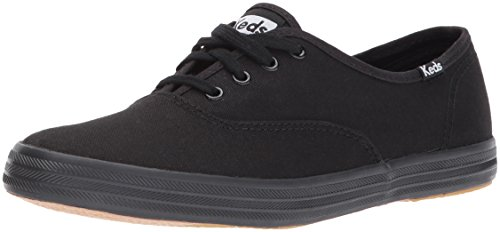 Keds Women's Champion Original Canvas Lace-Up Sneaker, Black/Black, 7.5 XW US