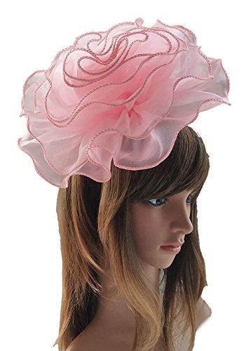Women Fascinators Hair Clip Headband Large Flower Kentucky Derby Cocktail Tea Party Church Headwear (Pink) by Flywife