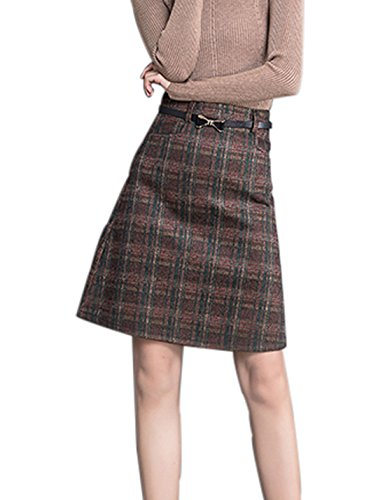 Tanming Women's Midi High Wasit A Line Plaid Wool Blend Skirt (Medium, Khaki) (Button Skirt One Wool)