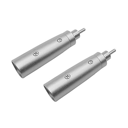 Eightnoo XLR Male to RCA Phono Plug Audio Adapter Silver Tone - XLR-M to RCA-M Coupler Adapters , Pack of 2