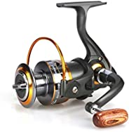 Spinning Fishing Reels for Freshwater Left/Right Interchangeable Collapsible Wooden Handle Powerful Metal Body