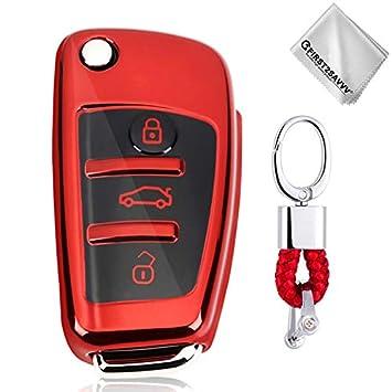 Rojo Funda para Llave Smart Key para Coche 3 Button Audi A1 A3 A4 A6 A8 TT Q7 Q5 S6 - Carcasa Protectora [Suave] de [Silicona] - Case de Mando de Auto