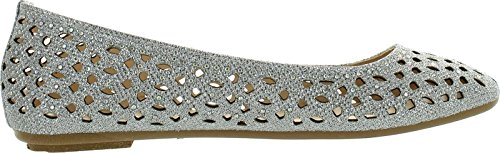 Shoes Bamboo Flat Sparkle Perforated Dress 80A Silver Ballet Womens Out Rhinestone Quintus Cut zqWzPwZr