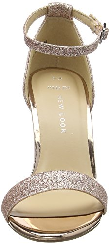 New Look Women's Sense Open - Zapatos Mujer Gold (Rose Gold)