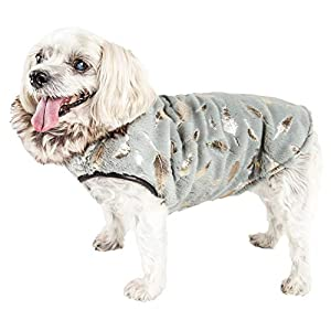 Pet Life ® Luxe 'Gold-Wagger' Gold-Leaf Designer Fur Dog Jacket Coat, Medium, Grey Click on image for further info.