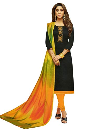 Womens Blended Silk Handworked Salwar Kameez with Banarasi Dupatta Womens Indian Pakistani Dress Ready to wear Salwar Suit (Size_44/ Black)