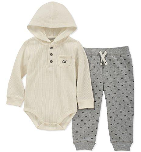 (Calvin Klein Baby Boys 2 Pieces Bodysuit Pant Set, Vanilla/Gray, 18M)
