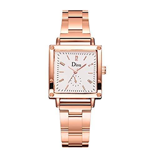 (Womens Quartz Watch,Present Hot Elegant and Stylish Multi-Color Square Dial Alloy Strap Quartz Watch(White))