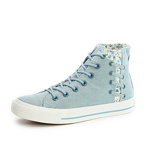 Fashion Cloudless Light Canvas Top Cotton Women's Sneaker Vintage Blue Shoes High PppYgwqf