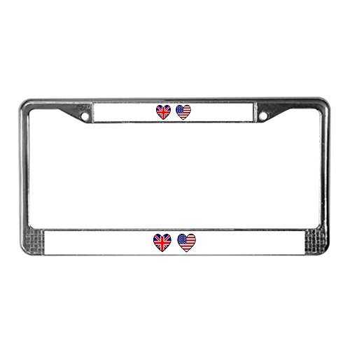 CafePress USA/UK Flag Hearts Chrome License Plate Frame, License Tag Holder