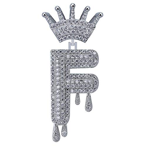 - HECHUANG Micropave Simulated Diamond Iced Out Crowned Initial Dripping Letters Pendant with Rope Chain (Silver F, 24)