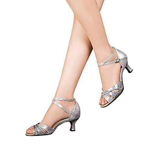 Women's Latin dance shoes with soft sole female Latin sandals Ballroom Dance Shoes (5 B(M) US, silver)