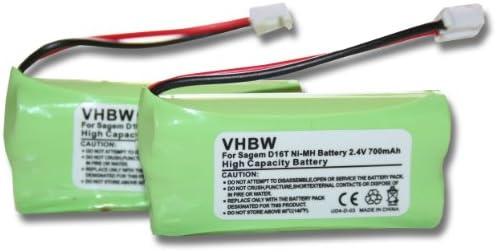 Set x2 baterías vhbw 700mAh para teléfono Fijo inalámbrico Sagem D16T, D16T Duo, D16T Duo 2, D18T, D21T, D21V por 2SN-AAA55H-S-JP1: Amazon.es: Electrónica