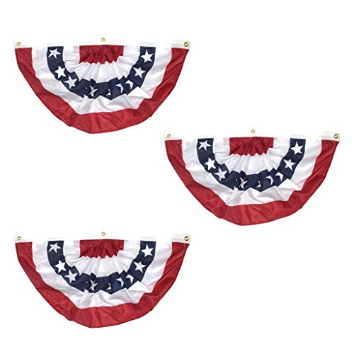 (NszzJixo9 3PC Independence Day American Pleated Fan Flag - USA American Bunting Decoration Logo Print Patriotic Stars and Stripes with Canvas Title)