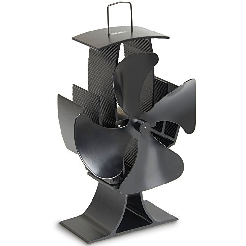 VonHaus 4-Blade Heat Powered Wood Stove Fan - Ultra Quiet Fireplace Wood Burning Eco Fan For Efficient Heat Distribution – Black