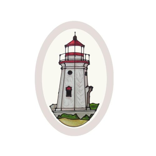 Lighthouse Suncatcher (Michigan Cheboygan Crib Lighthouse Painted Glass Suncatcher O-1091)
