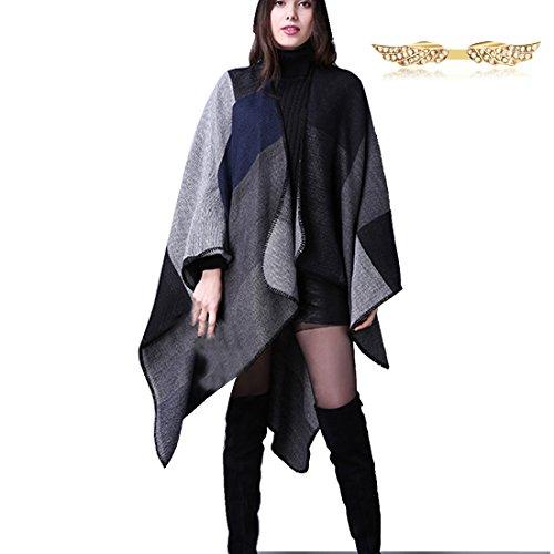 BYD Mujeres Elegant Bufandas Estolas Pashminas Cuadros Poncho Capa Suéter Fulares Chales Negro