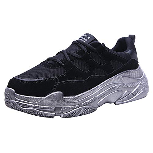 - Respctful✿ Women's Memory Foam Walking Sneakers Vintage Colorblock High Platform Fashion Comfortable Sneakers Black