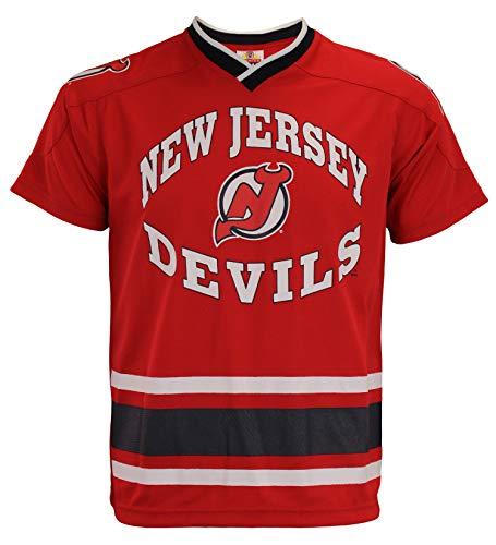 Mighty Mac New Jersey Devils NHL Big Boys Youth Short Sleeve V-Neck Knit Shirt, Red (Large ()