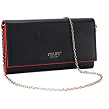 Itslife Womens RFID Blocking Leather Wallet Card Holder Clutch Cross Body Purse with Metel Chain