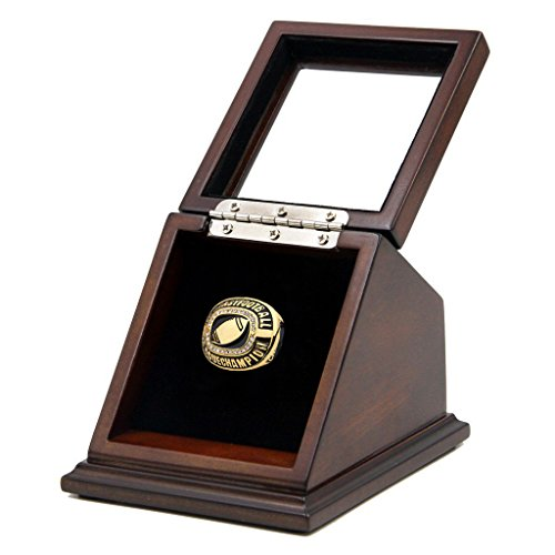 Championship Ring Display Case Box Real Wood and Framed Glass Lid |Single Stand 1 Slot| Gift for Sports ()