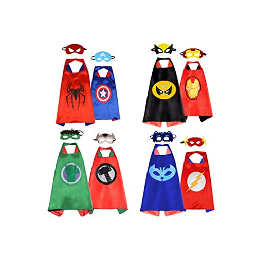 Superhero Capes for Kids, Dress up Costume Cartoon Double –Sided Satin Capes and Felt Masks (4 Capes, 8 Masks) Blue