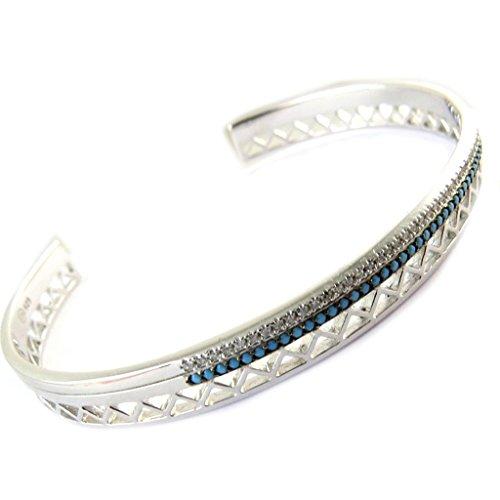 Les Trésors De Lily [N6206] - Bracelet argent ouvert 'Navajos' turquoise argenté