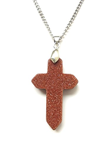 AIMITH Simple Wishing Cross Necklace Gemstone Pendant for Men Wumen Prayer Jewelry Gift (Goldstone)