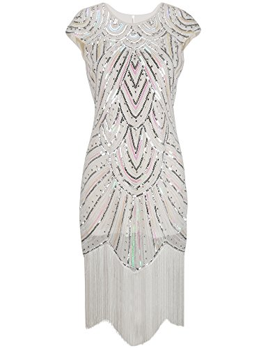 PrettyGuide Women's 1920s Gatsby Diamond Sequined Embellished Fringed Flapper Dress – 12-14, Luxury White
