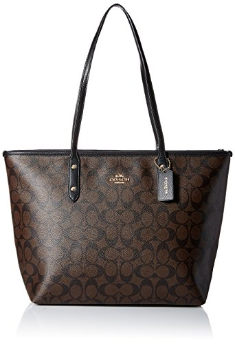Coach Signature City Zip Tote F58292 - Brown/Black by Coach