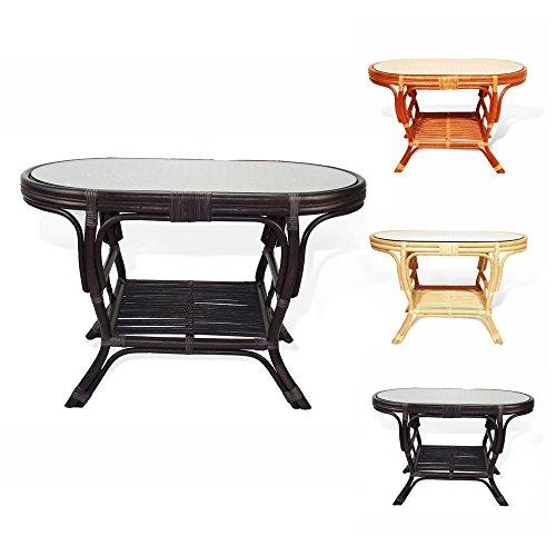 Amazon.com: Pelangi Oval Coffee Table With Glass Top